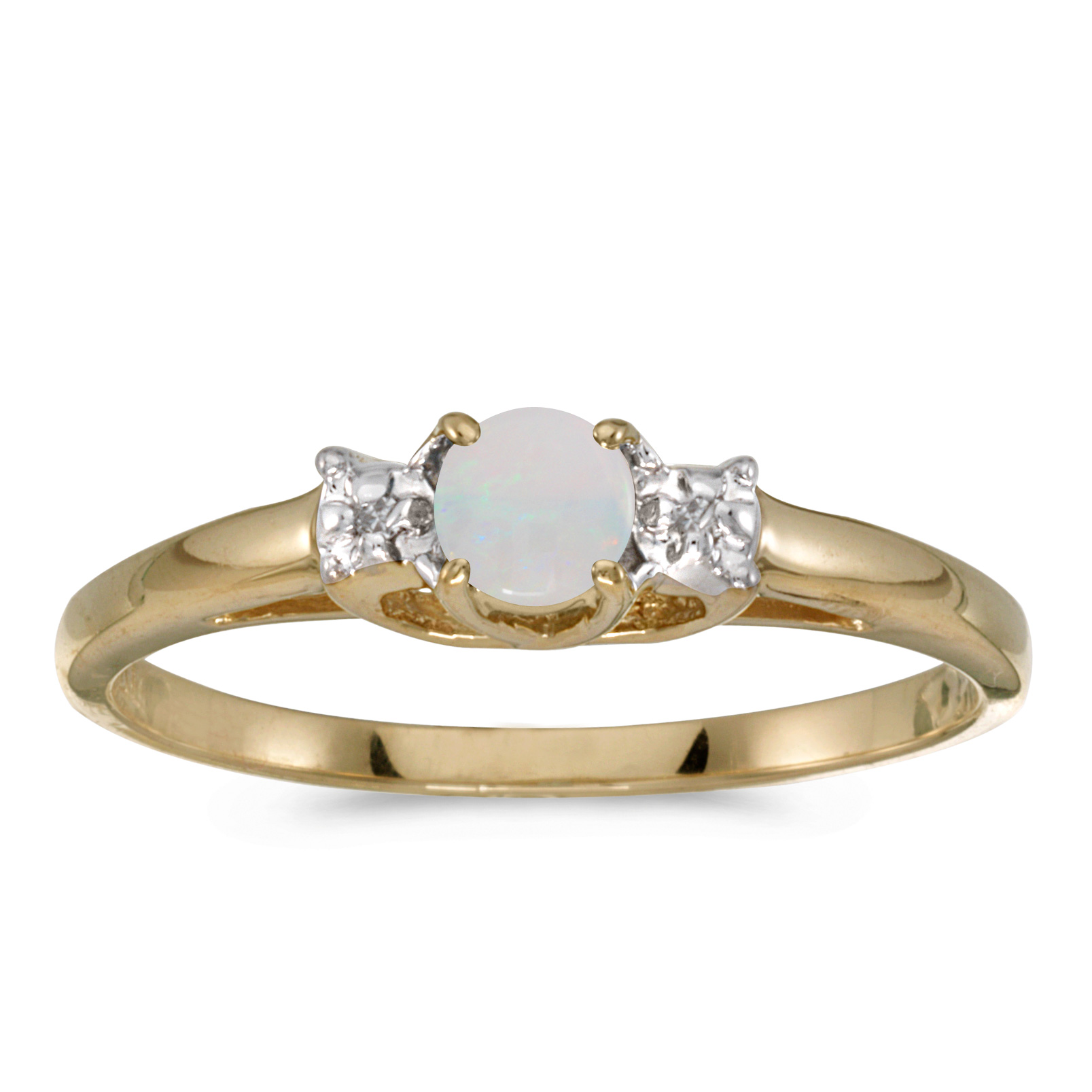 10k Yellow Gold Round Opal And Diamond Ring by