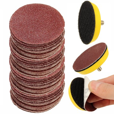 100pcs 2inch 60-2000 grit sander paper sanding buffing polishing discs pad wheel  m6x1 backer plate kit for car (Glass Polishing Kit)