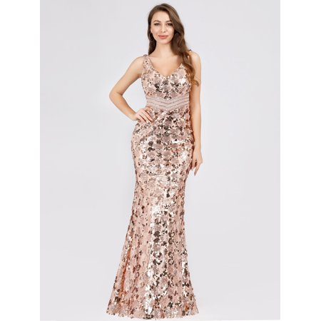 Ladies Gold Dresses (Ever-Pretty Womens Bodycon Sequin Mermaid Formal Evening Cocktail Party Prom Dresses for Women 07872 Gold)
