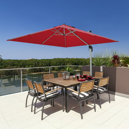 Gymax 10 Ft Square Offset Hanging Patio Umbrella 360 Degree Tilt Brick Red - image 6 of 10