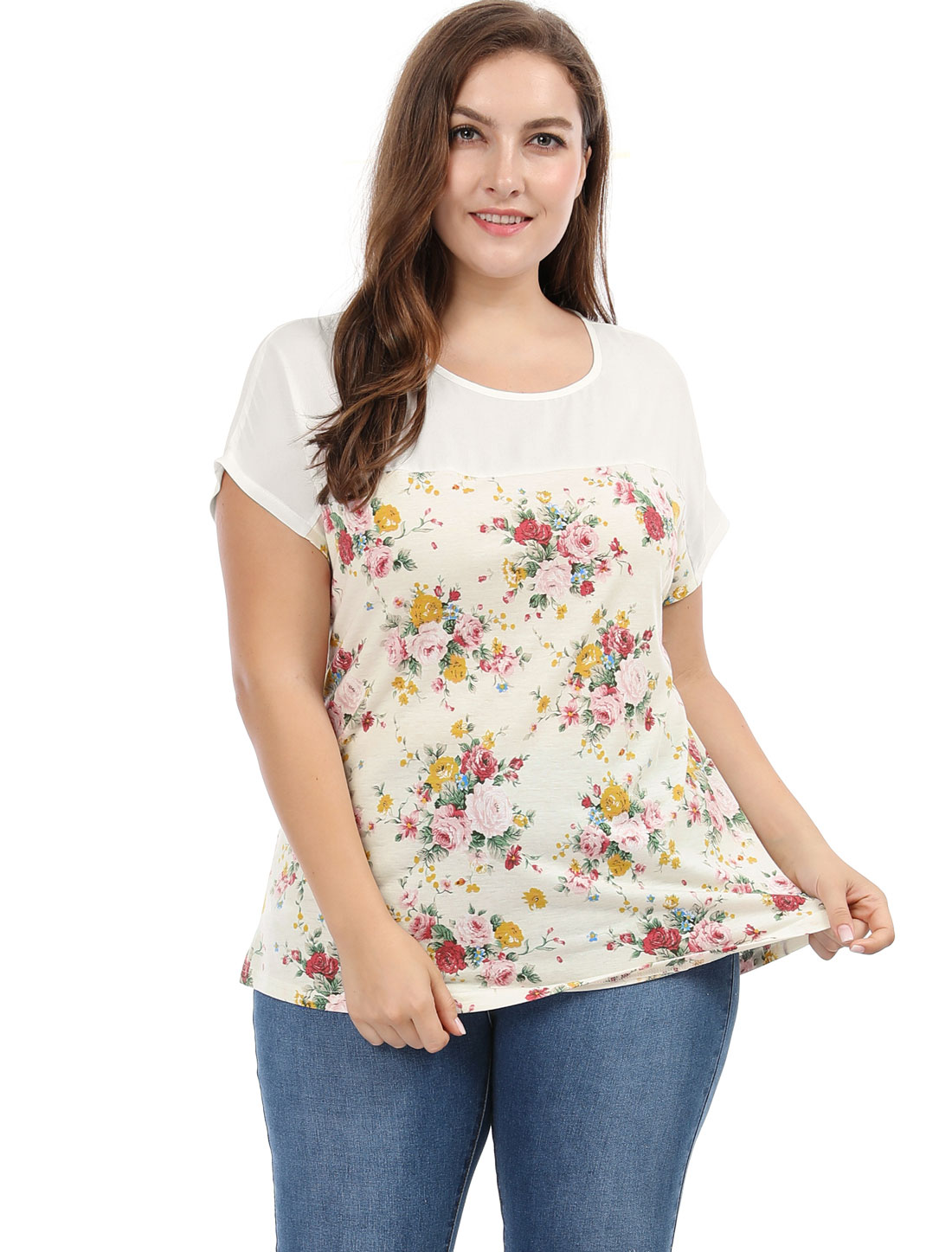 Unique Bargains Women's Plus Size Paneled Dolman Sleeves Floral Prints Top