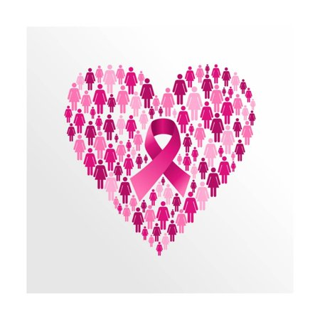 Breast Cancer Ribbon Art (Breast Cancer Awareness Ribbon - Women Heart Shape Print Wall Art By cienpies)