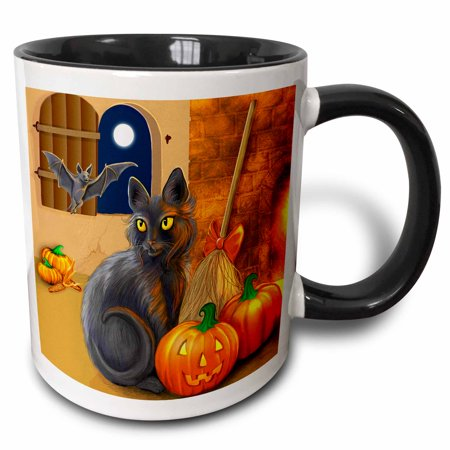 3dRose The Witchs Cat sits near a cozy fireplace entertaining her batty friend on Halloween night, Two Tone Black Mug, 11oz