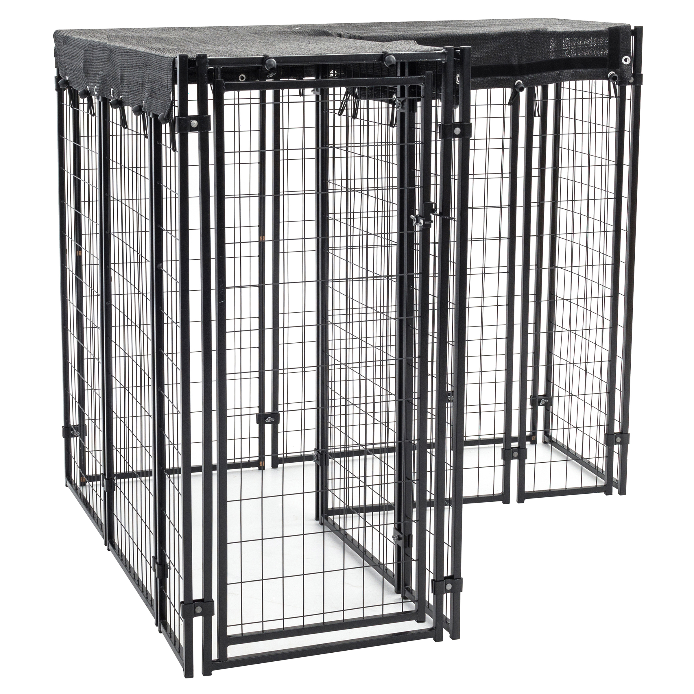 AKC® Hi-Rise™ 5ft x 5ft x 5ft Heavy-duty Dog Kennel with Cover for Small or Odd-shape Balconies & Patios with Free Training Guide