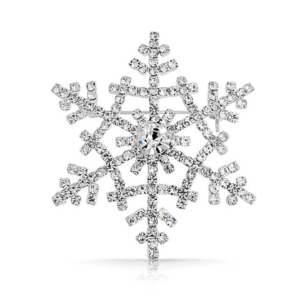 Bling Jewelry Crystal Winter Snowflake Brooch Christmas Pin Silver Plated by Bling Jewelry