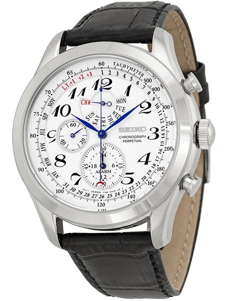Seiko Men's regular 45mm Black Leather Band Steel Case Hardlex Crystal Quartz White Dial Watch SPC131P1