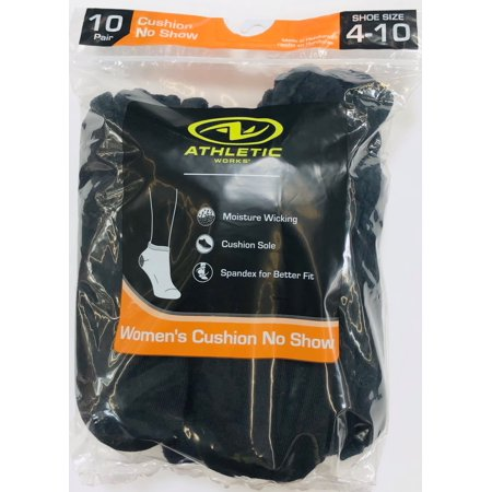 Athletic Works Women's Half Cushion No Show Socks, 10 Pairs