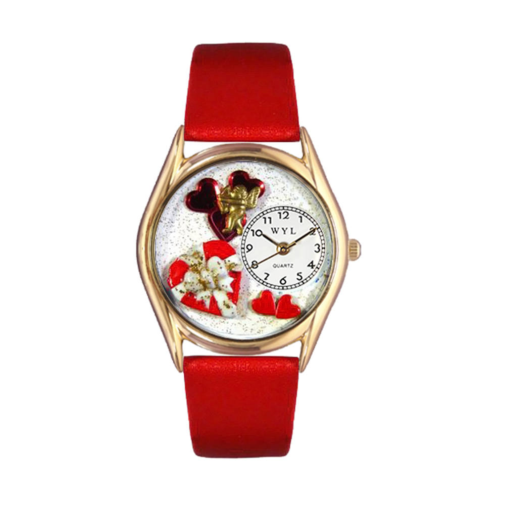 Whimsical Watches Women's Valentine's Day Red Leather and Gold Tone Watch