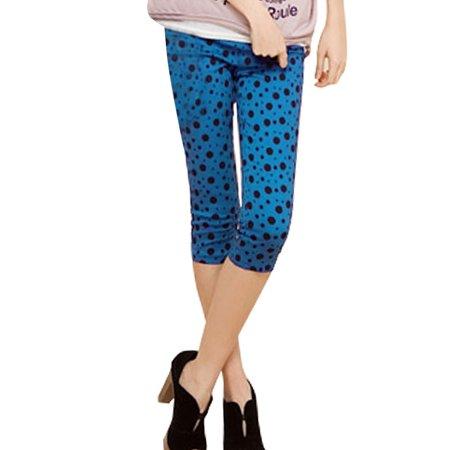 Womens Elastic Waist Mock Pockets Front Dots Casual Pants  Size S   4