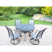 Oakland Living Corporation 5 pc Dining Set, with Table, and 4 Water-resistant Swivel Rockers