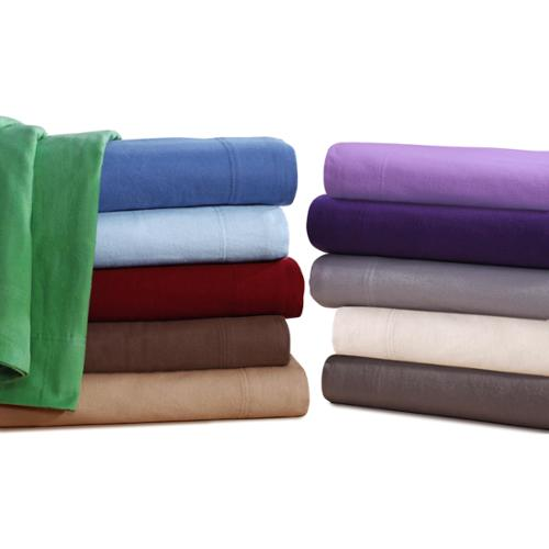 Ultra-soft 5-ounce Solid Flannel Deep Pocket Sheet Set Queen - Royal Purple