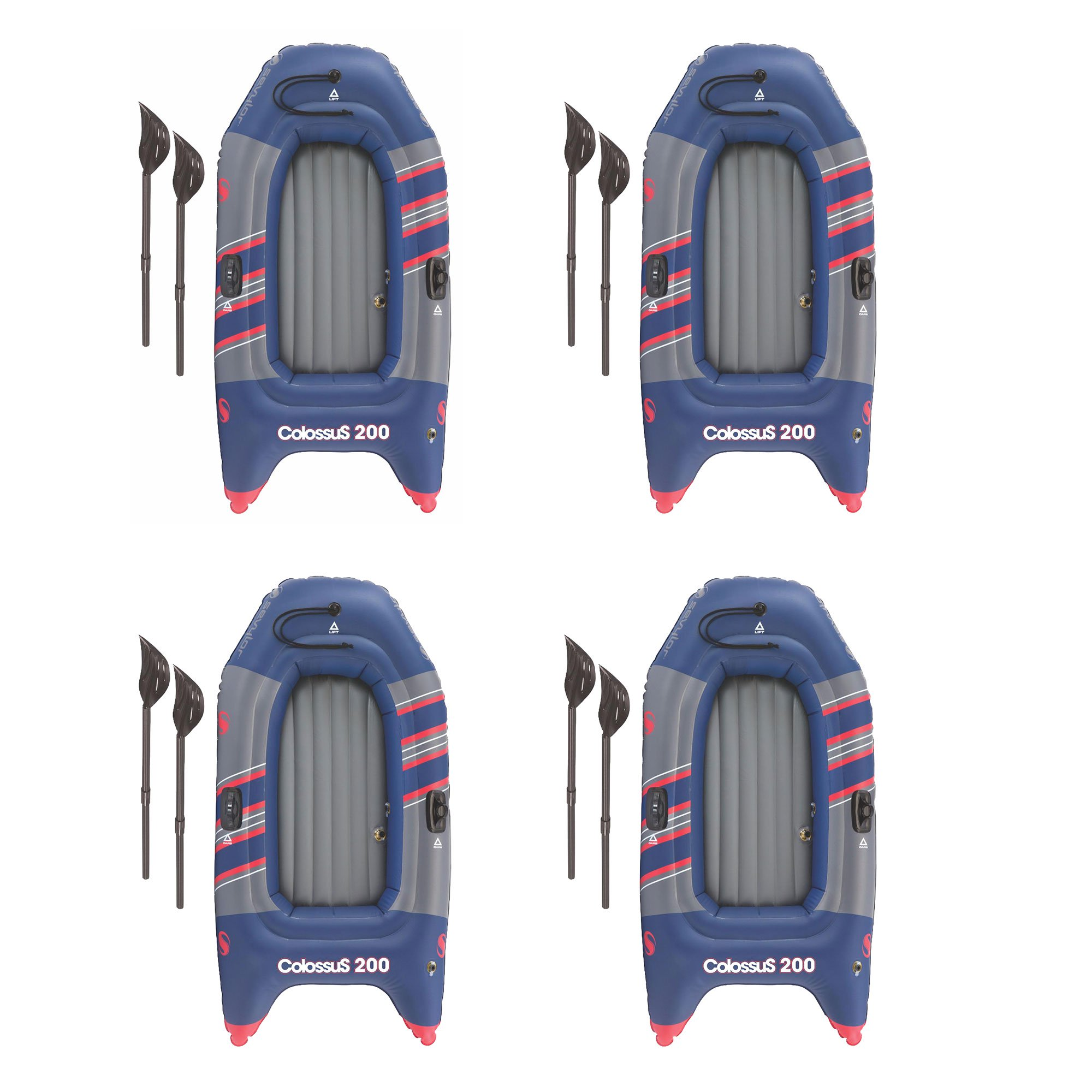SEVYLOR Colossus 2 Person Inflatable 14 Guage PVC Boat Raft w/ Oars (4 Pack)