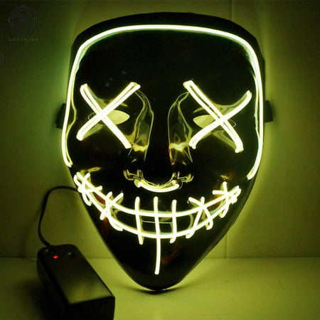 Obama Mask Halloween (Luxtrada Halloween LED Glow Mask EL Wire Light Up The Purge Movie Costume Party +AA Battery)