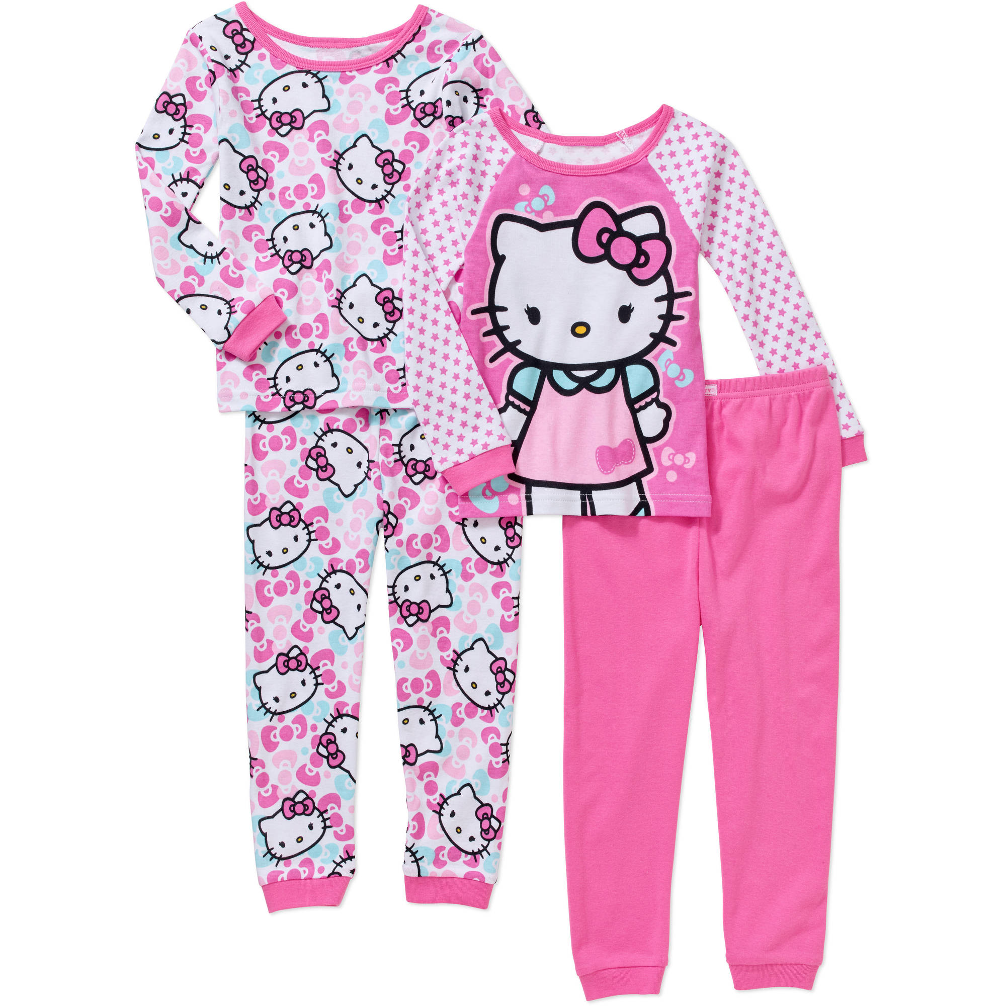 Hello Kitty Baby Toddler Girl Cotton Tight-Fit Pajamas, 4-Piece Mix and Match Set