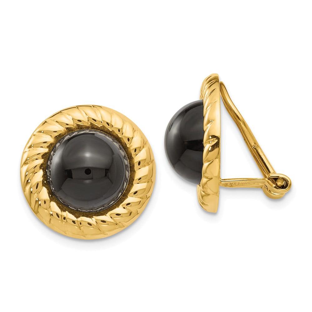 14k Yellow Gold Omega Clip Non-Pierced Onyx Earrings (0.6IN x 0.6IN )