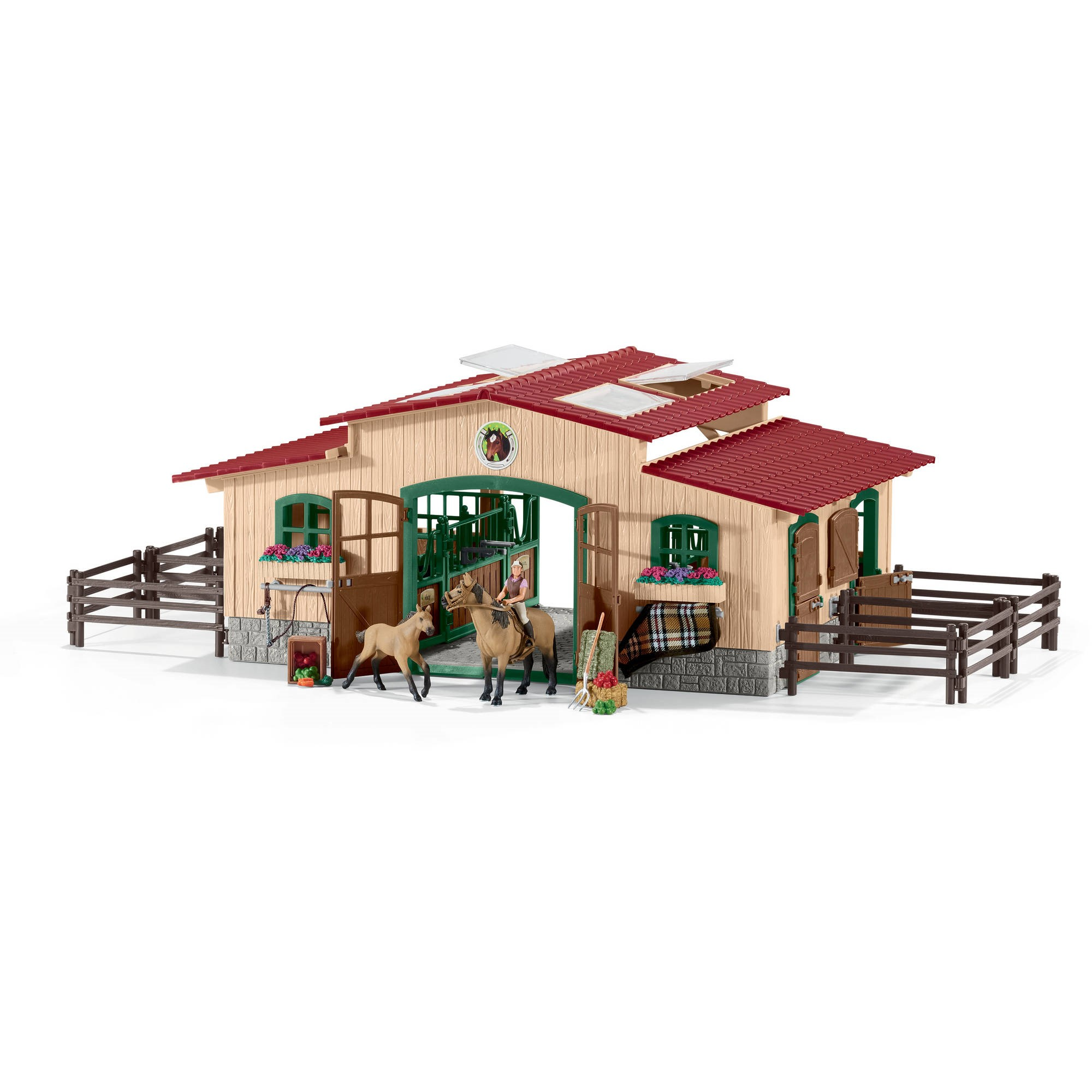Stable with horses and accessories (brown stable)