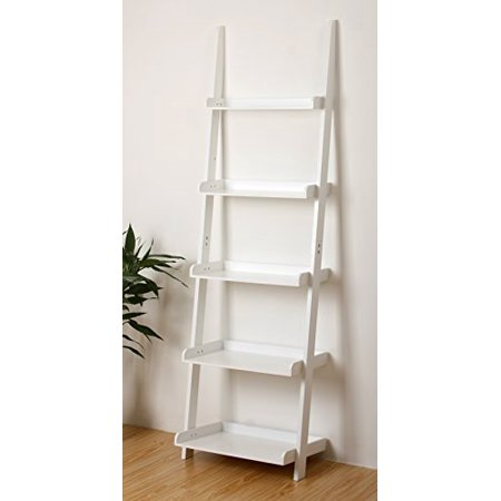5 Tier Leaning Wall Bookcase Shelf In White