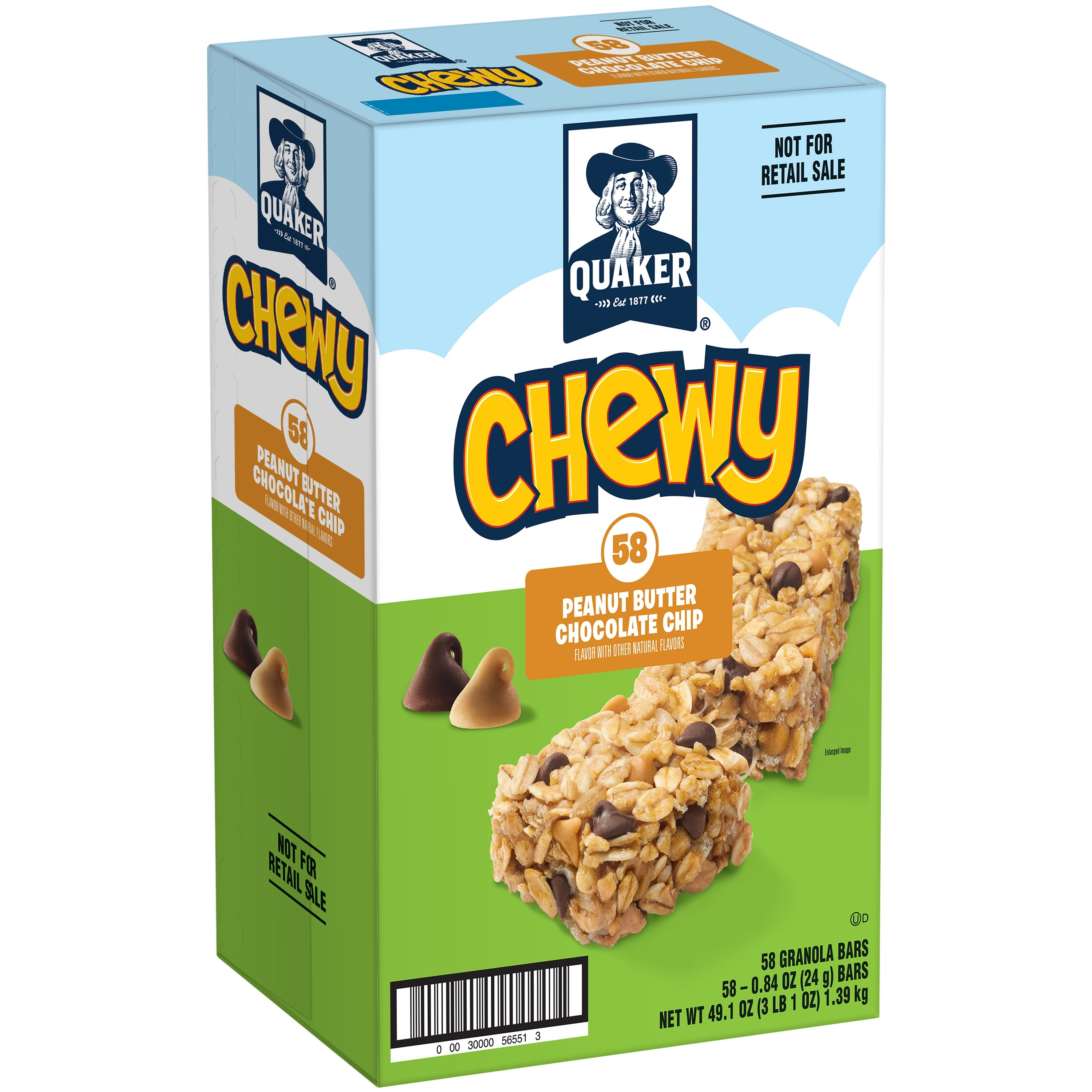 Quaker Chewy Granola Bars, Peanut Butter Chocolate Chip, 58 Count