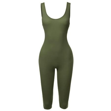 Tank Onesie (FashionOutfit Women's Solid Tank Top Cotton Catsuit Bermuda Bodysuit)
