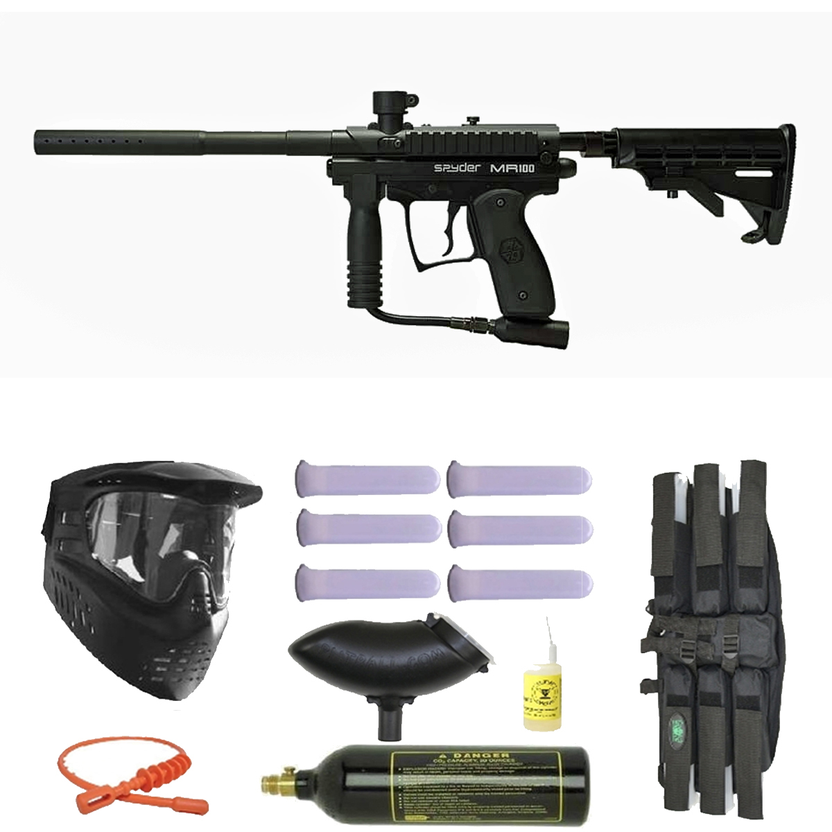 Spyder MR100 Pro Paintball Marker Gun 3Skull Mega Set Black by