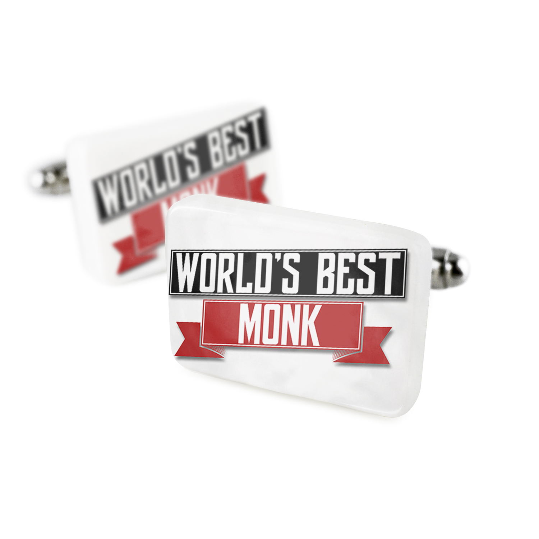 Cufflinks Worlds Best Monk Porcelain Ceramic NEONBLOND