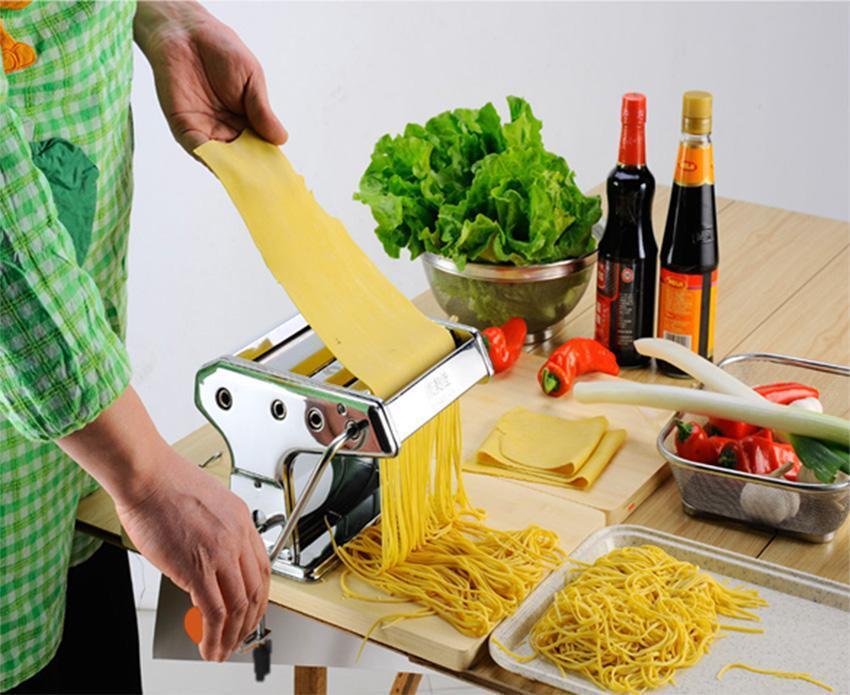 "7"" Spaghetti Noodle Fettuccine Maker Roller Machine Pasta Maker Manual Silver LEO by"