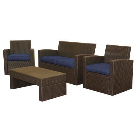 Epatio 4 Piece Resin Wicker Loveseat Set In Brown With 4 Azul Blue Cushions