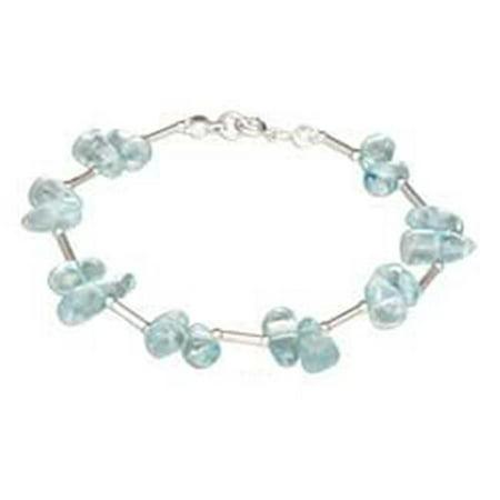 7 in. Sterling Silver Polished Nugget Blue Topaz Bracelet