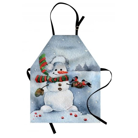 - Snowman Apron Watercolor Style Snowfall Outdoors Merry Christmas Theme Winter Bullfinch Birds, Unisex Kitchen Bib Apron with Adjustable Neck for Cooking Baking Gardening, Multicolor, by Ambesonne