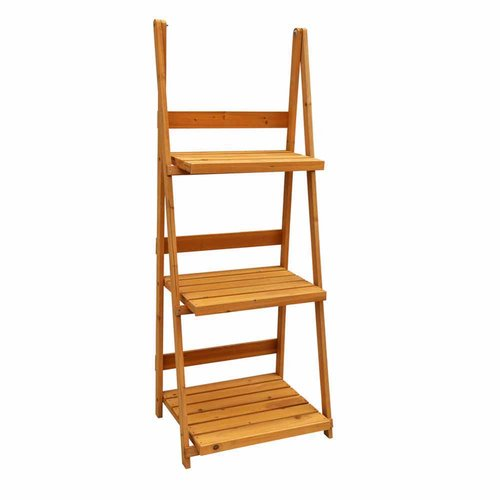 Leisure Season 3-Tier A-Frame Plant Stand, Medium Brown