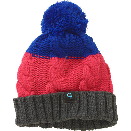 Cold Front Girl's Cuff Fleece Lined Beanie Hat with Pom