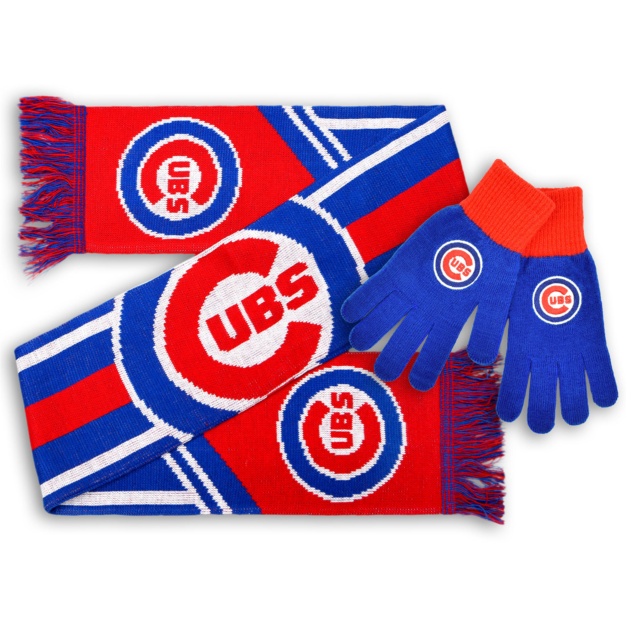 Chicago Cubs Knit Gloves and Scarf Set No Size by TEAM BEANS INC/FOREVER COLLECTIBLES