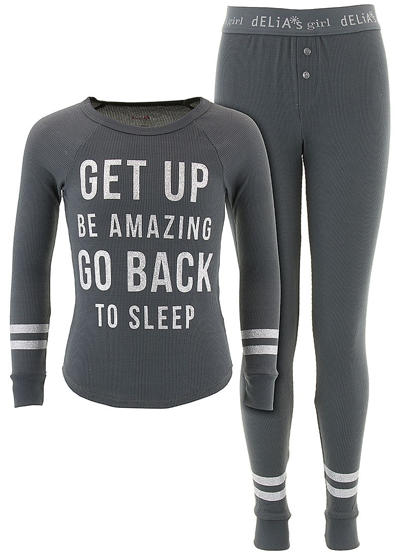 Delia*s Girls Get Up Be Amazing Charcoal Thermal Pajamas