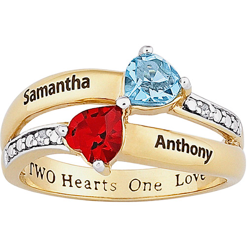 Personalized Birthstone and Diamond Accent 18kt Gold over Sterling Silver Couple's Kissing Hearts Ring