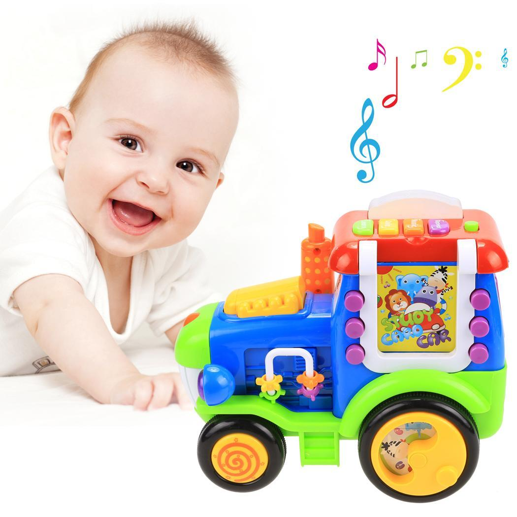 Baby Light Music Electric Train Reactor Pull Toy with Learning Educational Card TPBY by