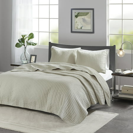 Cream Mitchell Solid Brushed Fabric Quilt Set King 3pc