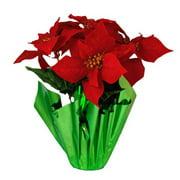 Queens of Christmas WL-5FL-POINSETTIA Artificial Poinsettia Pot