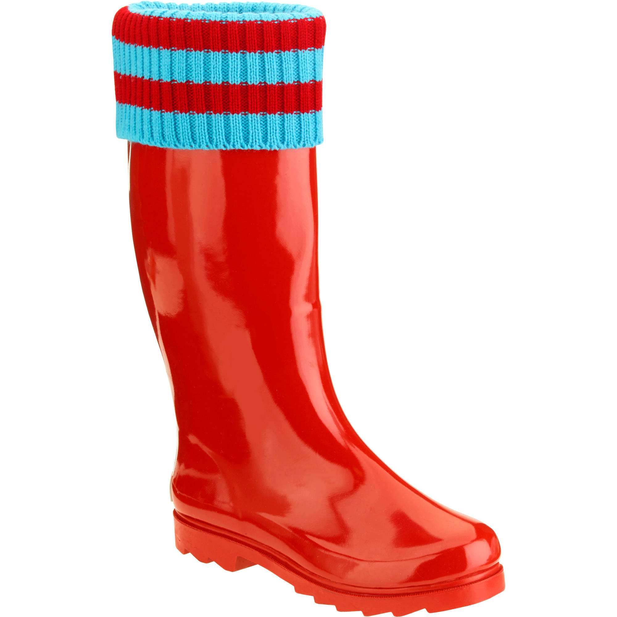 Forever Young Women's Mock Sock Trim Tall Rain Boot