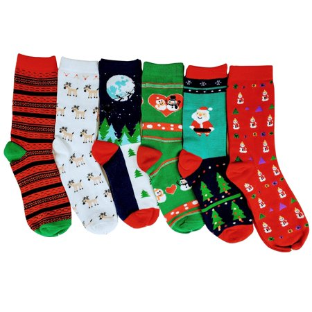 Sumona 6 Pairs Women Christmas Novelty Design Crew Socks 9-11 #256