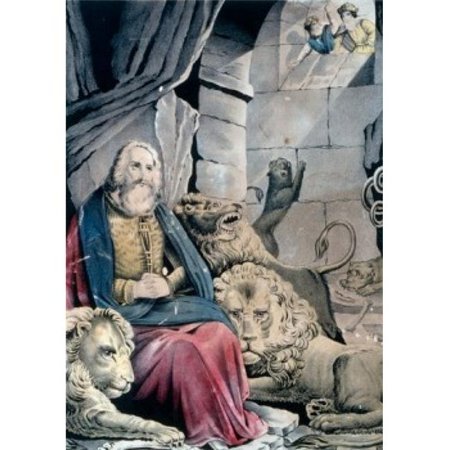 Posterazzi SAL9001225 Daniel in the Lions Den Currier & Ives Color Lithograph 1857-1907 Washington DC Library of Congress Poster Print - 18 x 24 in. (Lions Lithograph)