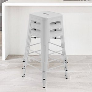 Counter Height Bar Stools Set Of 4 Metal Bar Stools 24 Inches Kitchen Counter Stool Industrial Metal Stool Patio Furniture Indoor/Outdoor Stool Moden Stackable Barstools Restaurant Dining Chairs ()