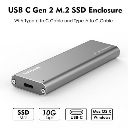 Wavlink USB C Gen 2 10Gbps M.2 SSD Enclosure B Key External Adapter (Included both USB C and USB 3.0 Cables) Aluminum Design SuperSpeed NGFF SATA Drive -[Compatible with Thunderbolt