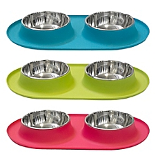 Messy Mutts Stainless Steel Double Dog Feeder with Non-Slip Silicone Base, X-Large, Green