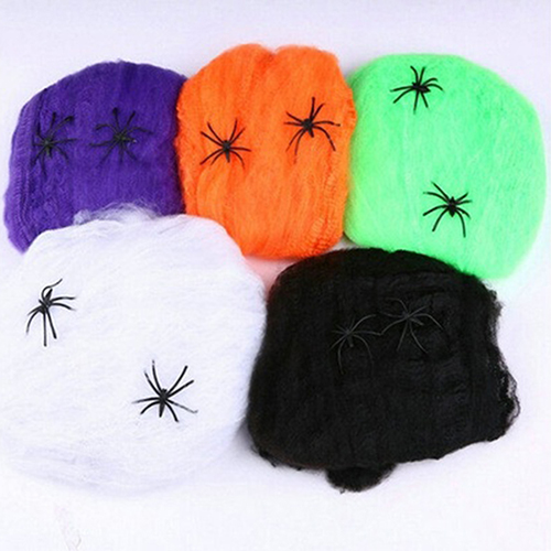HiCoup Stretchable Scary Spider Web Party Decoration Halloween Prop Cobweb Spiderweb