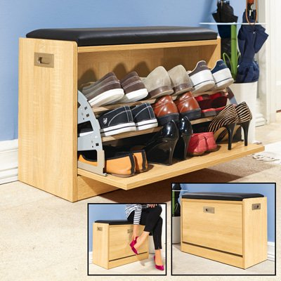 Wooden Shoe Cabinet Storage Bench w/ Seat Cushion - Holds up to 12 Pairs Wooden Shoe Cabinet