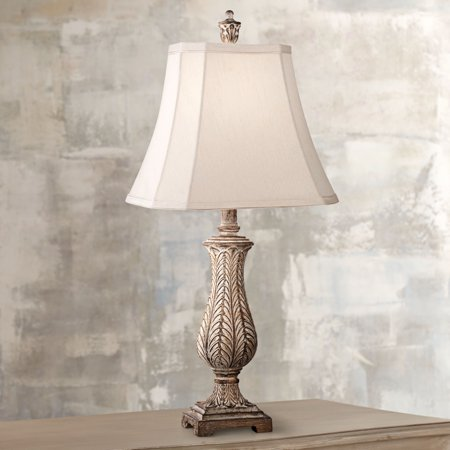 - Regency Hill Country Cottage Table Lamp Antique Gold Leaves Petite Vase Off White Rectangular Shade for Living Room Family Bedroom