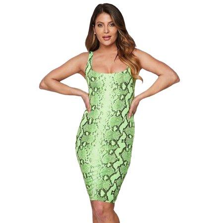 Prince Slip (Womens Snakeskin Printed Sleeveless Boat Neck Bodycon Club Party Slip Midi Dress)