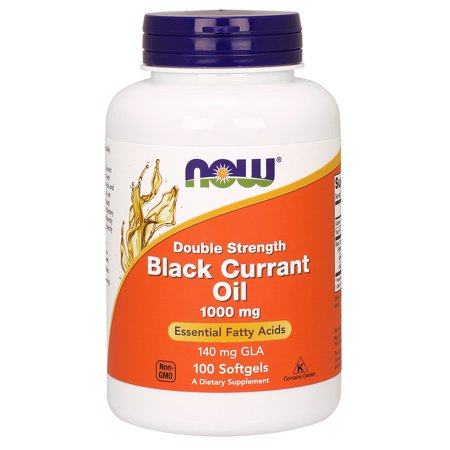 NOW Supplements, Black Currant Oil 1000 mg Double Strength with 140mg of GLA (Gamma-Linolenic Acid), 100 Softgels