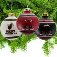 Miami Heat Three-Pack Glass Ball Ornament Set - No Size