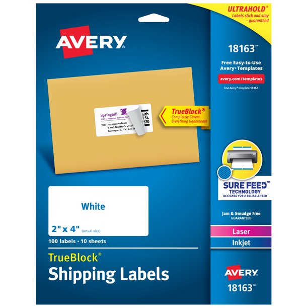 "Avery Shipping Labels, Sure Feed, 2"" x 4"", 100 Labels (18163) - Walmart.com - Walmart.com"